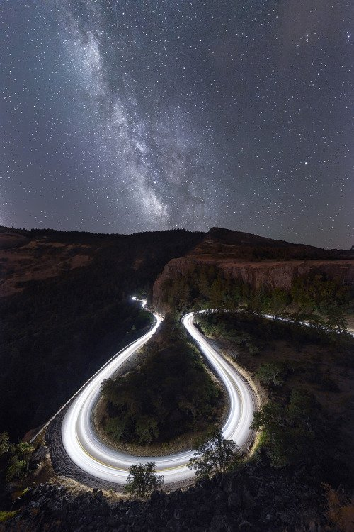 The Milky Way rises over the omega shaped curves below Rowena Crest.